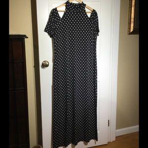 CHICO'S Polka Dot Maxi Dress Cold Shoulder sz 2